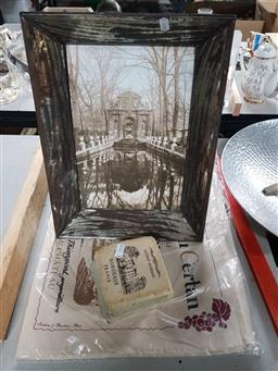 Sale 9176 - Lot 2287 - French Themed Placemats, Coasters, & Framed Picture