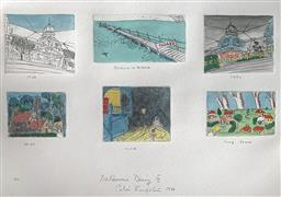 Sale 9214A - Lot 5027 - PETER KINGSTON (1943 - ) Melbourne Diary III, 1988 six coloured etchings on one sheet, ed. 12/75 (unframed) Penguin At Altona, B...
