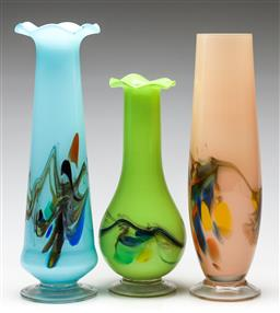 Sale 9238 - Lot 48 - A blue art glass ruffle rim vase together with a lime green and a pink example (3), all with similar design to body