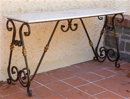Sale 9248H - Lot 293 - A marble top hand forged wrought iron base console table Width 150cm depth 50 x 77 height
