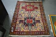 Sale 8161 - Lot 1048 - Rug in Red, Blue, White Tones with Animal Decoration (143x111cm)
