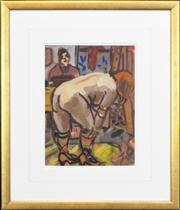 Sale 8266 - Lot 522 - Wendy Sharpe (1960 - ) - Model Undressing 29.5 x 22cm