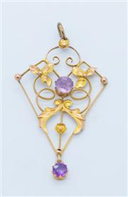 Sale 8284A - Lot 98 - A dainty Victorian 9ct rose gold amethyst pendant; kite shape frame set with 2 round cut amethysts.