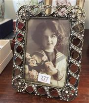 Sale 8310A - Lot 277 - A small decorative enamel and paste encrusted photo frame, total H 19cm