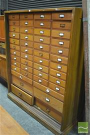 Sale 8338 - Lot 1048 - Large Oak Filing Cabinet of Many Drawers