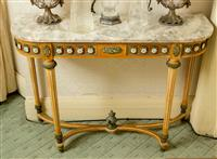 Sale 8392H - Lot 97 - A French marble top console table with porcelain roundels, ormolu mounts, tapered legs on stretcher base with urn finial, H 78 x W 1...