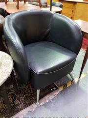 Sale 8462 - Lot 1051 - Black Leather Tub Chair on Chrome Legs