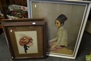 Sale 8487 - Lot 2066 - 3 Framed Artworks comprising a Print of an Oriental Lady, Original Work on Canvas of a Liner & Portrait of a Lady