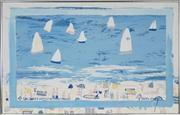 Sale 8716 - Lot 2057 - Derek Glaskin (1957 - ) - Sailboats at Greenmount 74.5 x 118cm