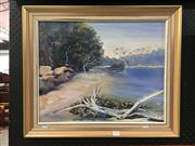 Sale 8776 - Lot 2070 - B. Hughes - Tree on the Bank, Oil, SLR, 39.5x49.5cm