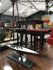 Sale 8809 - Lot 1099 - Model Yacht on Stand and Another