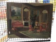 Sale 8845 - Lot 2067 - European Interior Scene by Unknown Artist, signed