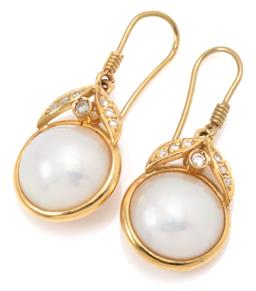 Sale 9156J - Lot 334 - A PAIR OF 18CT GOLD PEARL AND DIAMOND EARRING;  each collet set with a 12mm round cultured mabe pearl topped by collet and leaf desi...