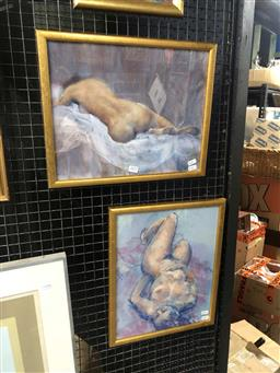 Sale 9163 - Lot 2015 - Paul F. Williams (two works) Nude pastel, frame: 41 x 33 cm & 33 x 41 cm, both signed -