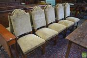 Sale 8255 - Lot 1058 - Set of Ten Spanish Style Australian Blackwood, with upholstered camel backs, with turned finials, legs & stretchers, by Farquhars of...
