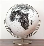 Sale 8261A - Lot 23 - A large monochrome globe of the world, with brushed steel base, H 51cm