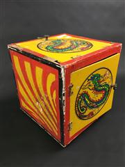 Sale 8539M - Lot 114 - Magic Box, adorned with dragons in vibrant colours. With secret compartment containing handkerchiefs. 24cm H x 23 cm W
