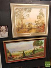 Sale 8552 - Lot 2059 - 2 Framed Works: Robert H Duncan Rural Scene Oil on Board with Bill Beaton Ruralscape SLR