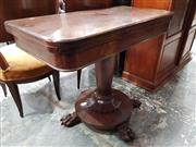 Sale 8792 - Lot 1049 - Victorian Mahogany and Walnut Card Table, the hinged top has a green felt interior and burr walnut freize, on a turned, tapering ped...
