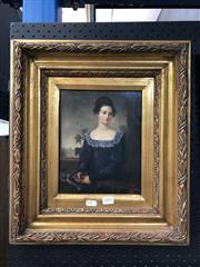Sale 8779 - Lot 2001 - Artist Unknown - Portrait of a Woman in Blue Dress in Gilt Frame