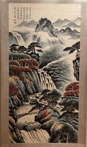 Sale 8951S - Lot 38 - Chinese Scroll of a Landscape, Ink and Colour on Paper