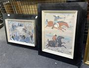 Sale 9011 - Lot 2027 - 2 Works: Artist Unknown - 2 x Hunting Scenes, gouache -