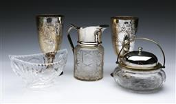 Sale 9098 - Lot 427 - Small collection of metalware and glasswares inc lemonade pitcher and etched glass biscuit barrel