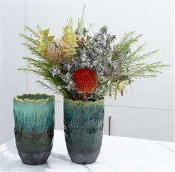 Sale 9150H - Lot 26 - A pair of drip glazed vases, Height 22cm   flowers not included