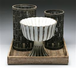 Sale 9164 - Lot 485 - Pair of hurricane lamps (H: 31cm& 28cm), together with a tray and composite comport