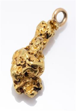Sale 9180E - Lot 109 - A crystallised 21 carat gold free form gold nugget charm, Length 3.5cm, weight 14.3g