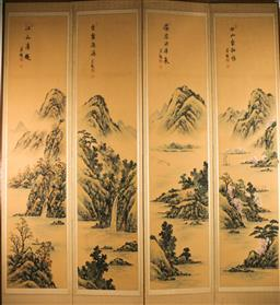 Sale 9175 - Lot 44 - A Four Panel Chinese Screen Featuring River and Mountain Scene (153cm x 41cm each panel)