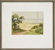 Sale 8316 - Lot 582 - Rubery Bennett (1893 - 1987) - Valley Landscape 12 x 17cm