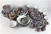 Sale 8393 - Lot 85 - Chinese Tea Set on a Black Ground with All Over Floral Detail
