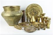 Sale 8393 - Lot 27 - Brass Arabic Pot with Other Brass Wares