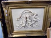 Sale 8437 - Lot 2085 - Carved Stone Cherub Wall Relief