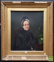 Sale 8459 - Lot 577 - C19th School (XIX) - Portrait of a Widow 60 x 49cm