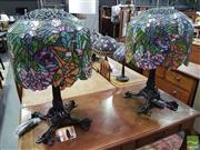 Sale 8532 - Lot 1037 - Pair of Impressive Leadlight Shade Table Lamps