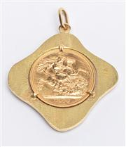 Sale 8590A - Lot 18 - 1974 Sovereign pendant in 18ct gold frame, marked BP, Height 4cm