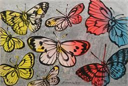 Sale 8665A - Lot 5084 - David Bromley (1960 - ) - Butterflies 75 x 111.5cm