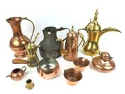Sale 8730C - Lot 76 - Moroccan Copper & Brass Tea & Kitchen Wares, height: 33cm (Largest)