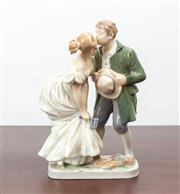 Sale 8774A - Lot 140 - A Royal Copenhagen figural group depicting lovers, signed UR H x  18.5cm
