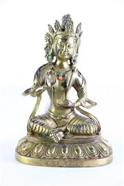 Sale 8972 - Lot 14 - A Gilded, Possibly Bronze Figure Of Tara H: 20cm, mark to front base