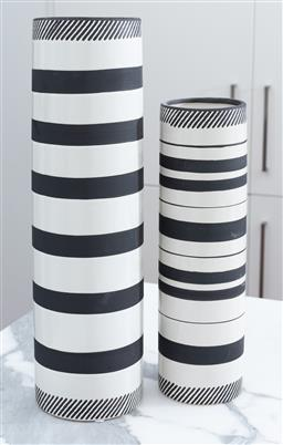 Sale 9150H - Lot 30 - A graduating pair of cylindrical vases in black and white stripes, taller Height 46cm