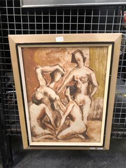 Sale 9147 - Lot 2015 - ROSS DOIG Bevy of Beauties mixed media on paper, 1954, frame: 51 x 40 cm, signed lower right -