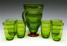 Sale 9164 - Lot 438 - Green glass drink suite for six incl pitcher (H: 23cm)