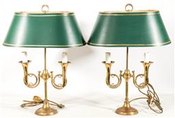 Sale 9175 - Lot 20 - A Pair of Twin Arm French Horn Form Brass Table Lamps (H:64cm)