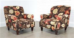 Sale 9255 - Lot 1088 - Pair of fabric upholstered club chairs (h:93 x w:84 x d:93 x w:84 x d:90cm)
