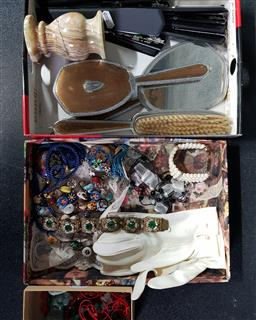 Sale 9254 - Lot 2181 - 2 Boxes of Dress Jewellery & Toilette Wares incl Bangles Necklaces, Letter Openers etc