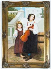 Sale 8338A - Lot 8 - S Hanson - Mother and Child Playing Musical Instruments 90 x 60cm