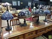 Sale 8532 - Lot 1046 - Set of Four Leadlight Shade Table Lamps